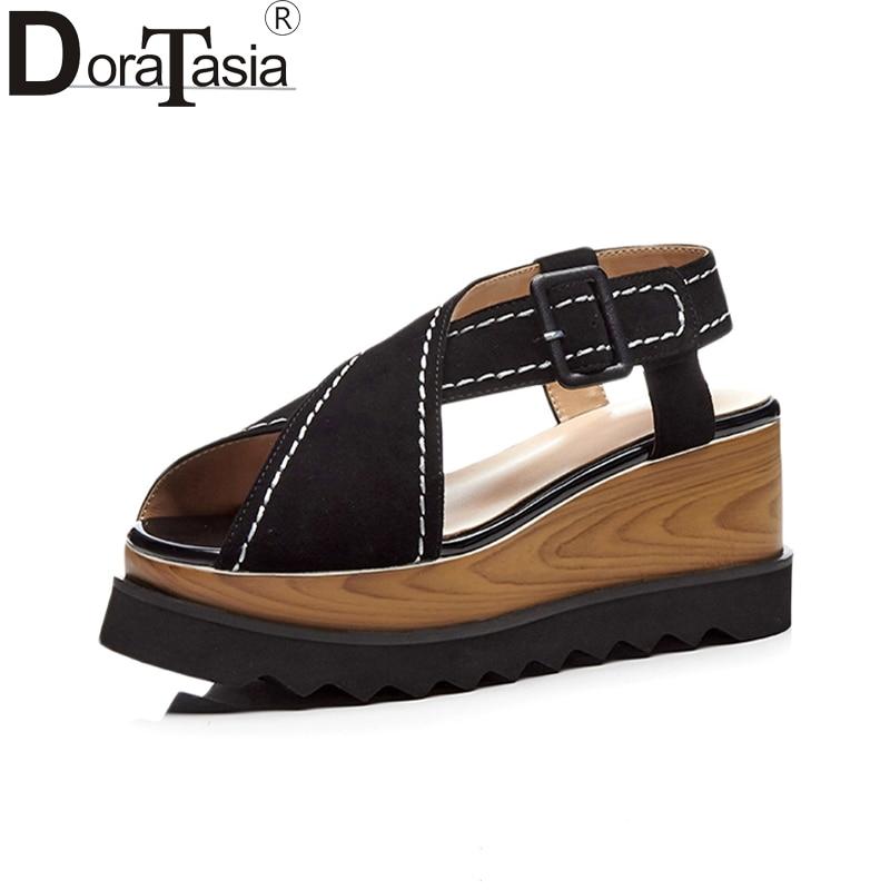 DORATASIA 2019 large size 33 40 kid suede genuine leather wedge heel platform Women sandals top