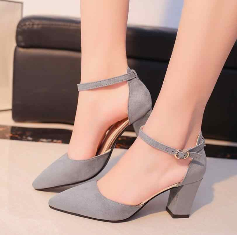 STAN tiburón 2019 Sandalias femeninas zapatos de tacón alto otoño rebaño señaló Sandalias sexy de mujer de verano zapatos de mujer Zapatos Sandalias