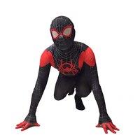 Miles Morales Spider Man Cosplay Costume Spiderman Jumpsuit + Mask Adult & Kids Superhero Zentai Spiderman Suit Bodysuit