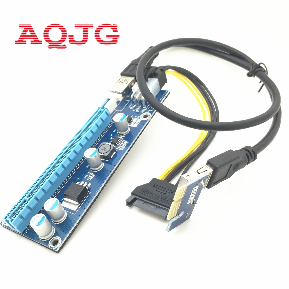PCIe PCI-E PCI Express Riser Card 1x to 16x USB 3.0 Data Cable SATA to 4Pin IDE Molex Power Supply for BTC Miner Machine black 0 6m pci express pci e 1x to 16x riser card adapter pcie extender with usb 3 0 cable sata to 4pin ide molex power cord