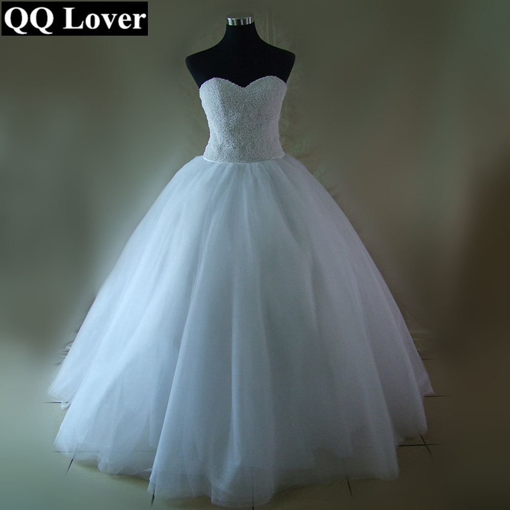 Qq Lover 2017 Bling Bling Pearls Wedding Dress Tulle