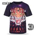 ESIUPIN 2017 Novo Verão Tshirt Dos Homens/Mulheres 3d T-shirt de Impressão Espaço galaxy tiger t shirt da forma cobre t dos homens plus size L-3XL
