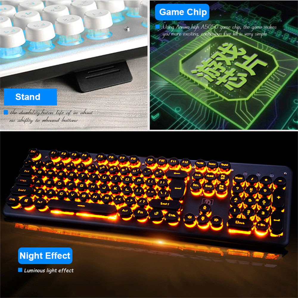 RGB LED Backlight Glowing Wired Keyboard Computer Laptop Notebook Gaming Keyboard Retro Round Glowing Keyboards