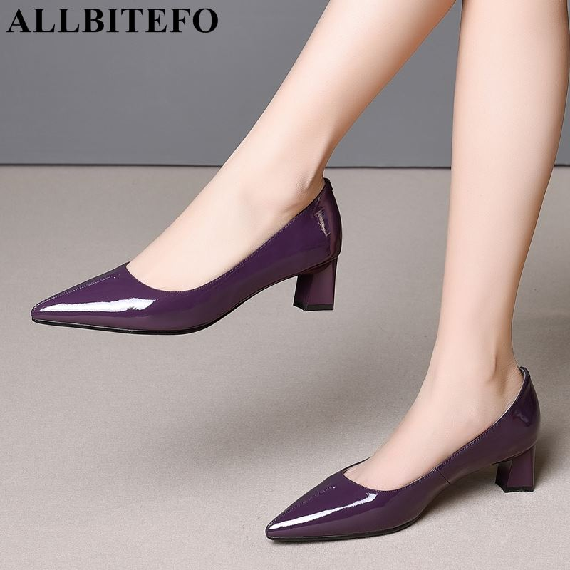 ALLBITEFO Size:34-41 Full Genuine Leather Pointed Toe Women High Heel Shoes Thick Heel Women Party Shoes Spring Girls Shoes