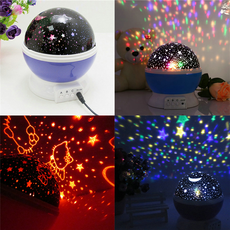 buy 360 Degree Room Novelty Night Light Projector Lamp Rotary Flashing Starry SKY Star Moon 3D USB/Battery Projection children lamps pic,image LED lamps deals