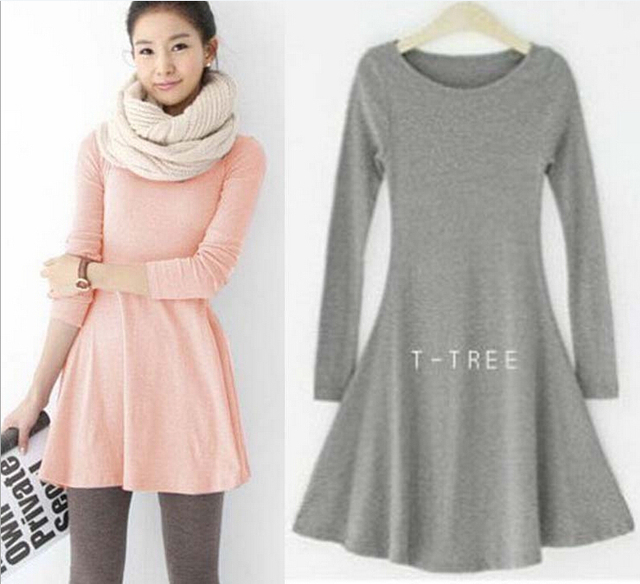 e6fb9246e82 2017 new on sale cute top girl lady Fashion spring dress long sleeves long  womens cotton casual dresses free size US 4-14