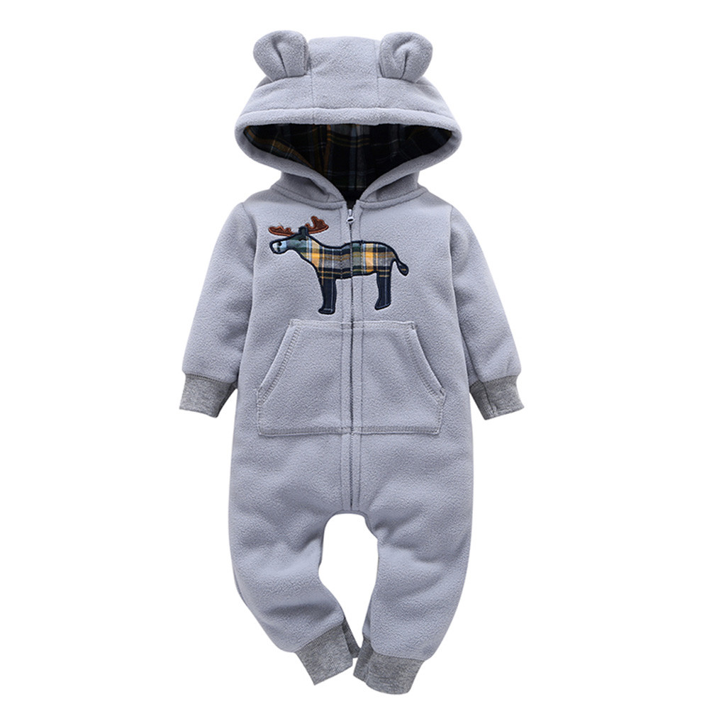 New Baby Clothing horse print Rompers Newborns Clothes Boy Girl Gray Jumpsuit Baby Hooded Warm Thicker Infant romper JD Loviny
