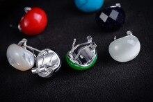 mujer moda pendientes oorbellen earrings Green Jade Gems Hot sale Natural Light 925 Sterling Silver Earrings