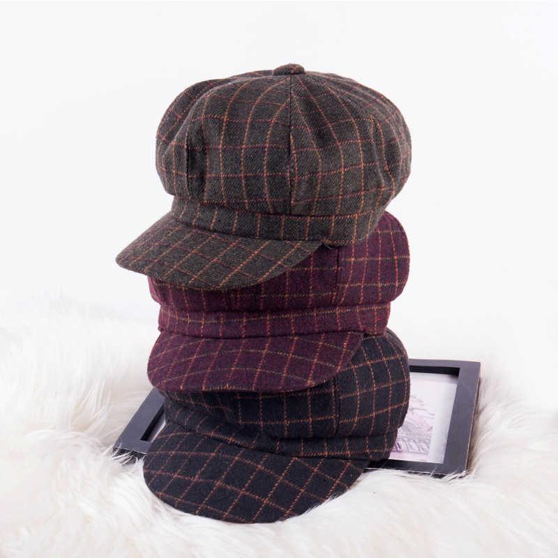 Nueva moda octogonal sombrero tendencia Otoño Invierno big hit color retro elegante plaid costura boina inglés newsboy sombrero pintor sombrero