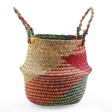 Folding Flower Pot Seaweed Hand-woven Bamboo Rattan Basket Creative Living Room Arrangement Storage Report