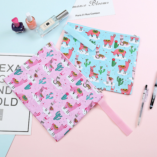 Alpaca Cactus Cartoon Printing File Bag Document Bag File Folder Stationery Filing Production School Office Supply 2