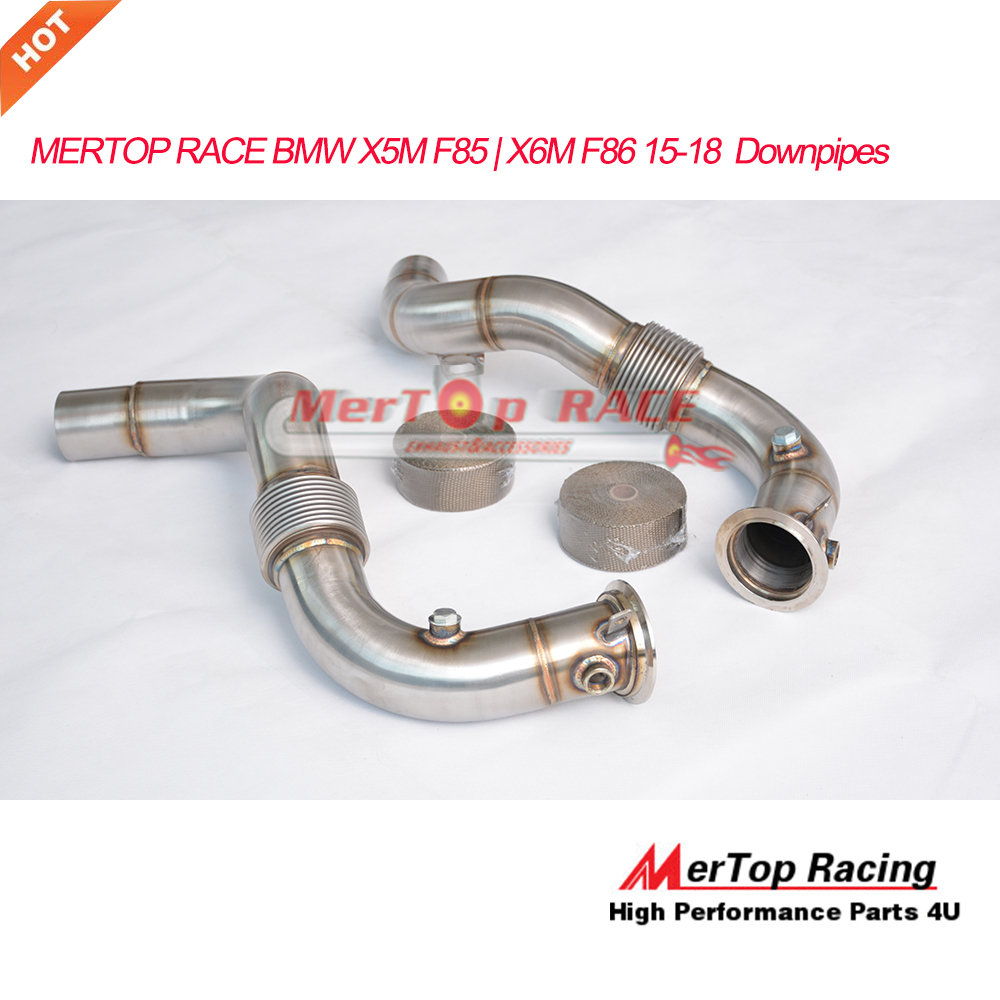 US $289 0 |MERTOP RACE 3 0'' X5M F85 X6M F86 4 4L V8 Turbo Catless Downpipe  2015 2018 with Double deck strong Flex pipe-in Exhaust Manifolds from