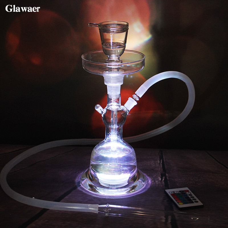 Classical High Borosilicate Glass Hookahs with LED Tray Carbon Plate Nargile Somking Pipe Glass Tube Silicone Hose for Shisha