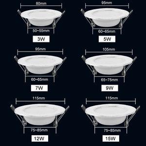 Image 3 - 10 個の led ダウンライト 220 v 240 v 3 ワット 5 ワット 7 ワット 9 ワット 12 ワット 15 ワット led シーリングラウンド凹型ランプ led スポットライト浴室キッチン