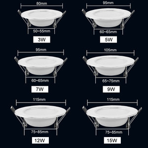 Image 3 - 10Pcs Led Downlight 220V 240V 3W 5W 7W 9W 12W 15W LED Ceiling Round Recessed Lamp LED Spot Light For Bathroom Kitchen