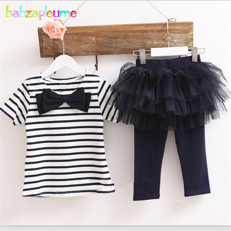 Summer Kids Girl Clothes Stripe Short Sleeve Children Clothing Sets T-shirt+Pants-Lace Two-Piece Baby Girls Suits 2-5Year BC1210