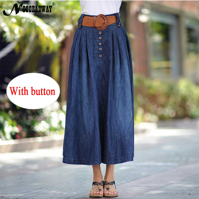 15aa22c32e ... S-6XL plus size denim Falda larga mujer alta cintura jeans falda verano maxi  faldas ...