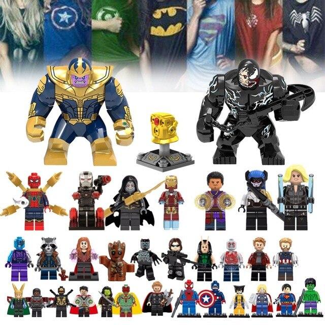 Para Legoing Spiderman Super-heróis Homem De Ferro Thor Loki Deadpool Gwen Venom Spider man batman Avengers Blocos de Construção de Brinquedos de Ação