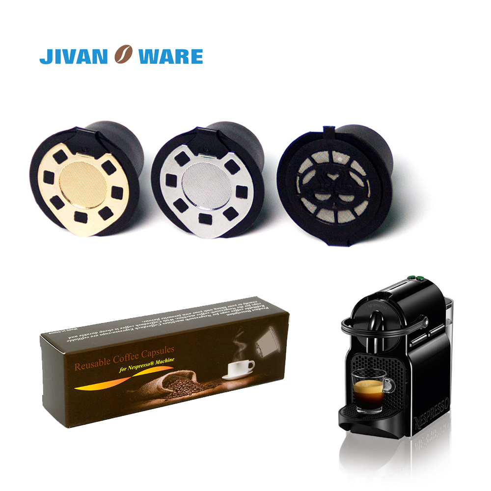 JIVANWARE 3pcs Refillable Reusable Nespresso Coffee Capsule Filter Pod Basket for Nespresso Coffee machine