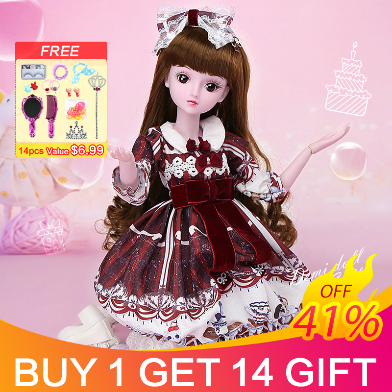 UCanaan BJD Dolls with Clothes Outfit Shoes Wig Hair Makeup for Girls Gift and Dolls Collection