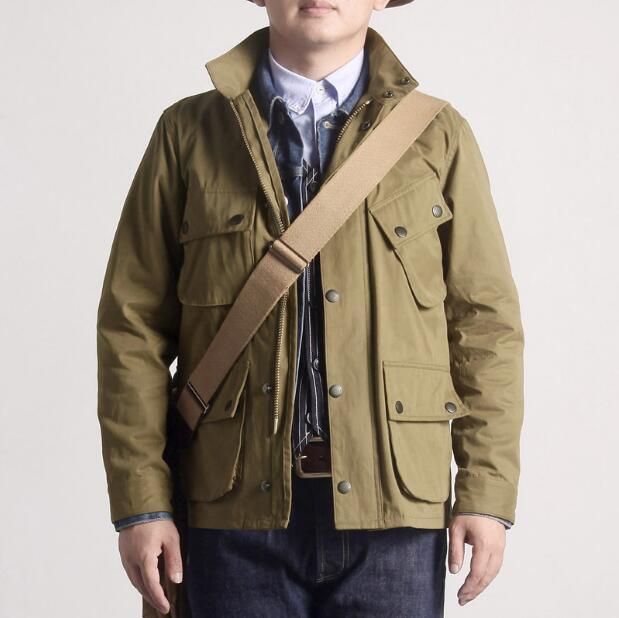 Men's Stand Collar Wax-free Windbreaker Jacket American Retro Military Wind Tool Jacket And Coat
