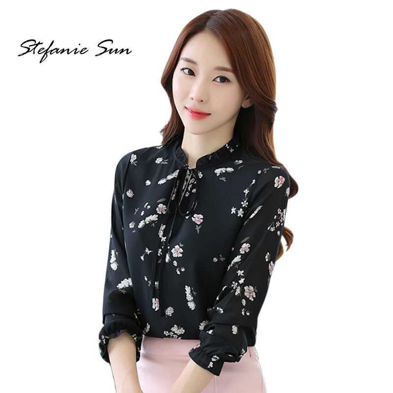 f03d237e366 Модные женские туфли Шифоновая блузка с длинным рукавом Повседневное  офисные женские свободные летние футболка с цветочным
