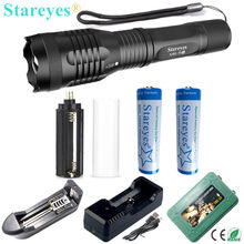 The latest version Super Bright XML-T6S 4000LM LED Torch Zoomable LED Flashlight+18650 5000mAh Rechargeable battery+Charger(China)
