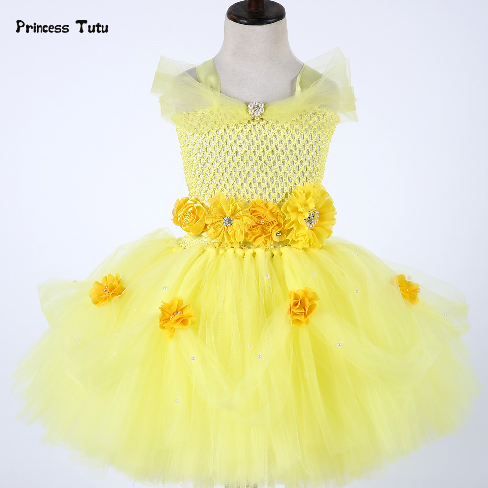 Belle Princess Dress Newborn Baby Girl Tutu Dress Tulle Baby Toddlers 1 Year Birthday Dress Party Beauty Beast Cosplay Costume недорго, оригинальная цена