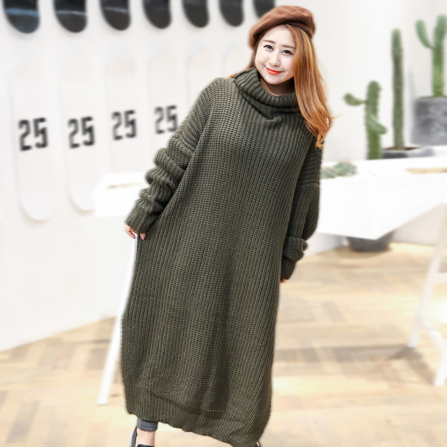 c912141b36 Oversized Panmei novo vestido de lã longo inverno nova moda gola alta  vestido de 9105