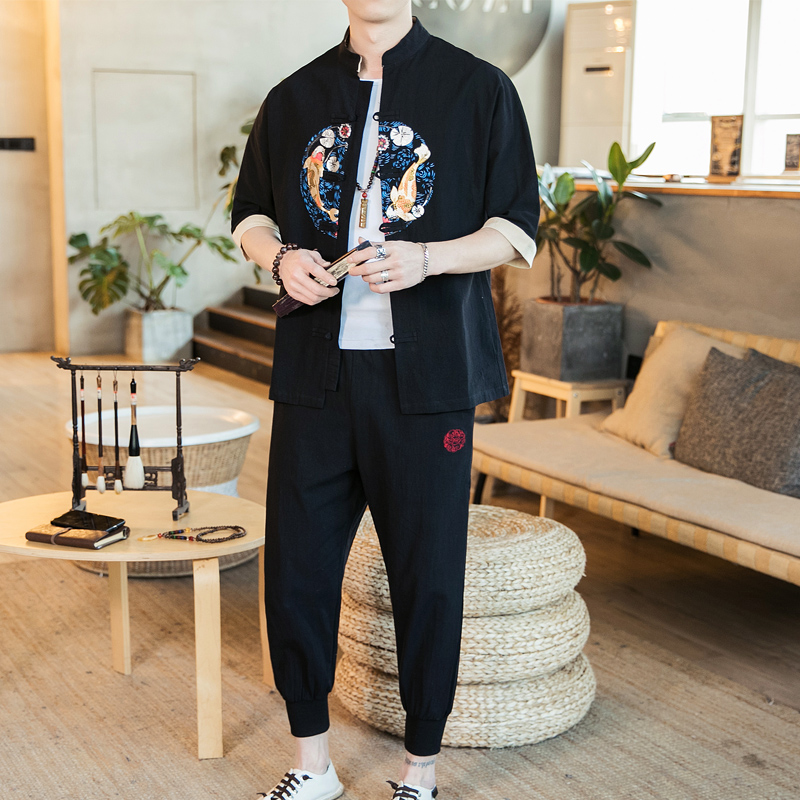 LOLDEAL Summer Chinese Men 39 s Embroidered Hanfu Men 39 s Cardigan Jacket Nine Pants Embroidered Fish Casual Men 39 s Set in Men 39 s Sets from Men 39 s Clothing