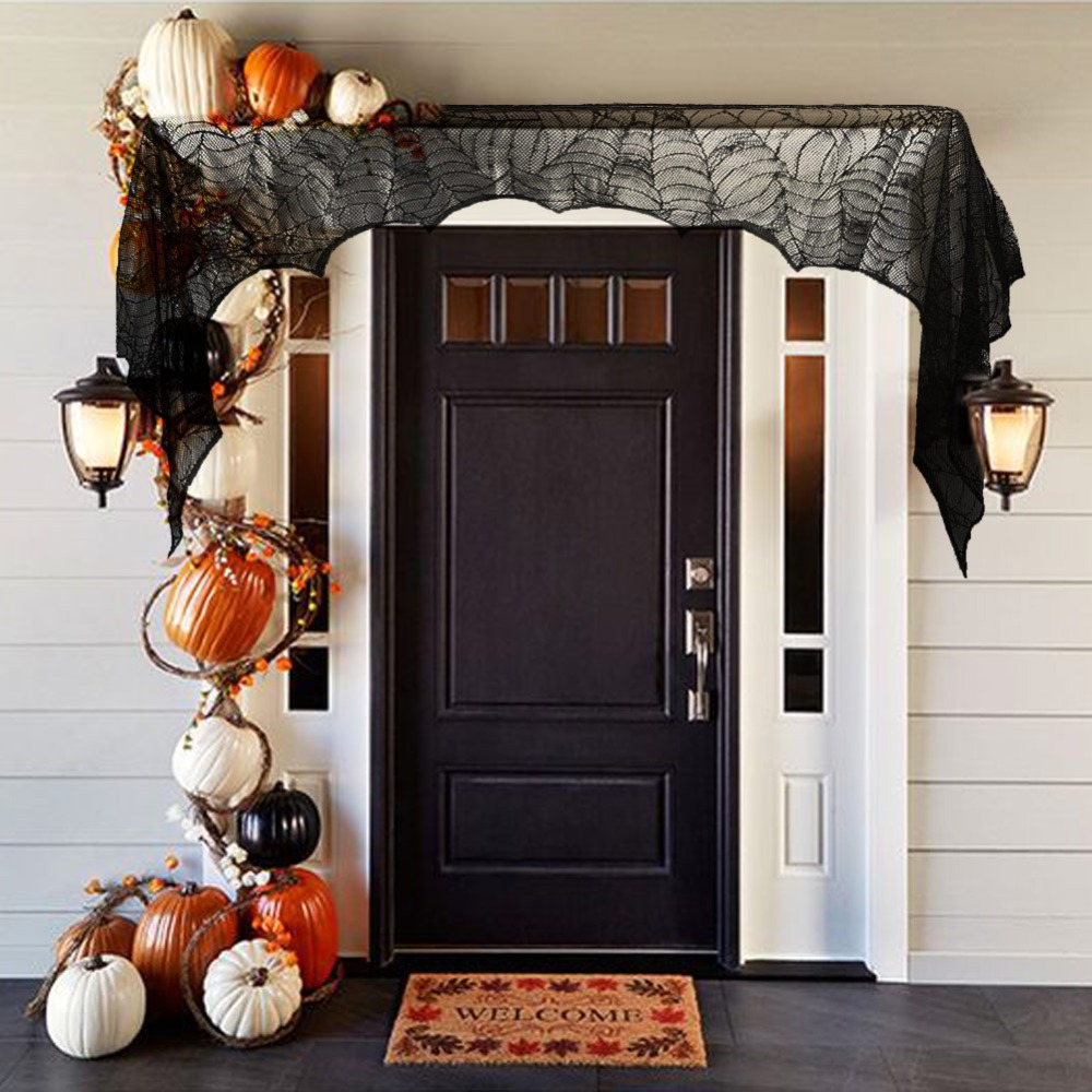 Fireplace Halloween Decorations: 74in*35in Cobweb Fireplace Scarf Halloween Party
