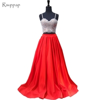 Long Prom Dresses 2018 A line Sweetheart Spaghetti Strap Top Beaded Satin African Red Two Piece Prom Dress