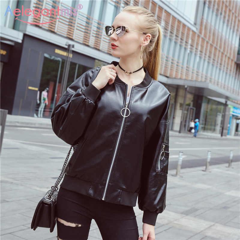 9cacb1b9a81 ... Aelegantmis New Design PU Faux Leather Jackets Women Classic Loose Bomber  Jacket Lady Coat Spring Autumn ...