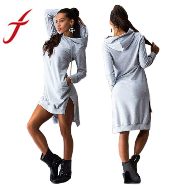 Feitong Autumn Women Dress Sexy Double Split Sweatshirt Hoodie Pullover  Casual Loose Pockets Jumper Hooded Dress Hooded vestidos fa2cbc9f70