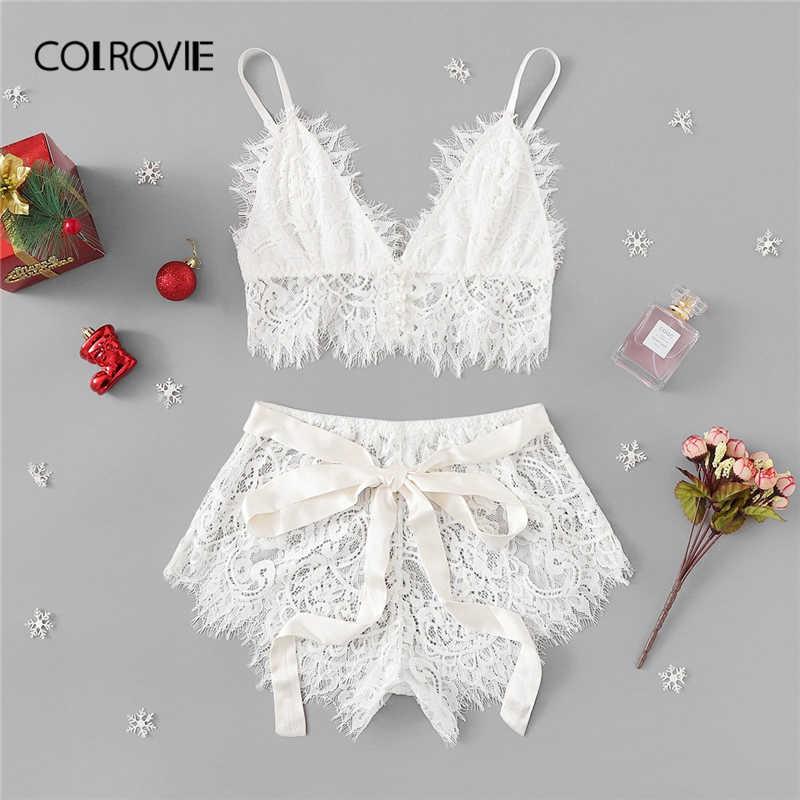 b71caadbf6 COLROVIE White Solid Tie Eyelash Ribbon Christmas Lace Sexy Intimates Women  Lingerie Set 2019 Fashion Bralette