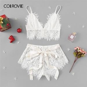 Image 1 - COLROVIE White Solid Tie Eyelash Ribbon Christmas Lace Sexy Intimates Women Lingerie Set 2019 Fashion Bralette Underwear Bra Set
