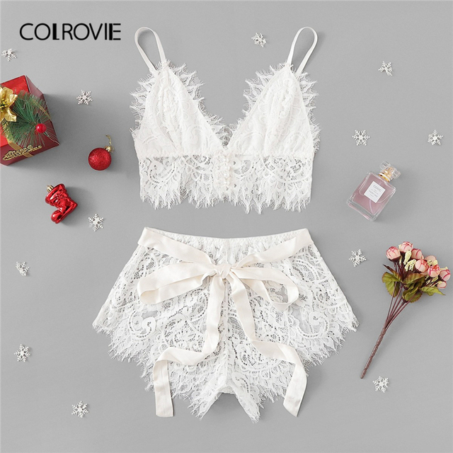 COLROVIE White Solid Tie Eyelash Ribbon Christmas Lace Sexy Intimates Women Lingerie Set 2019 Fashion Bralette Underwear Bra Set