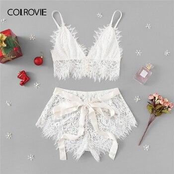 18d5e38a COLROVIE blanco sólido lazo pestañas cinta Navidad encaje Sexy Intimates  mujeres Lencería conjunto 2019 moda Bralette ropa interior sujetador ...