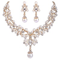 BELLA Flower Necklace Earrings Set For Bridal Ivory Pearl Made With Swarovski Elements Crystal Jewelry Set