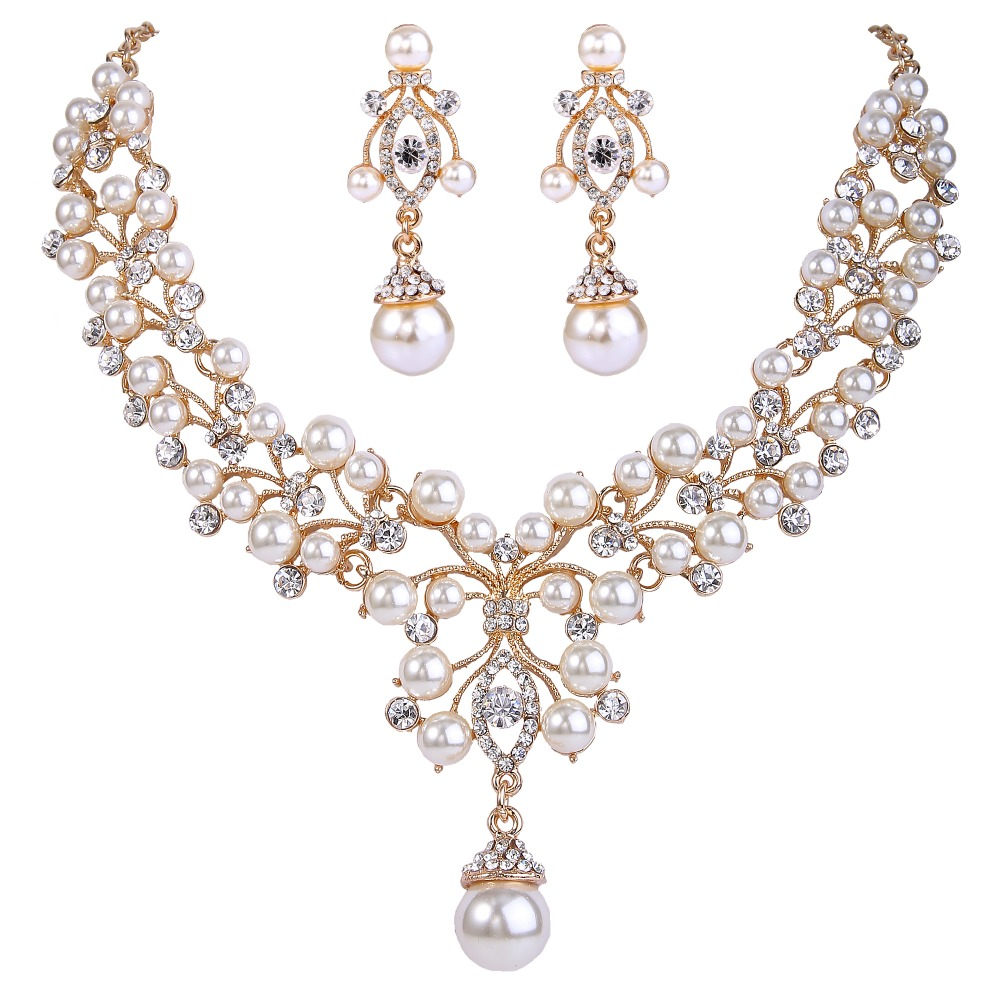 Bella bridal flower necklace set ivory pearl austrian for Decor jewelry