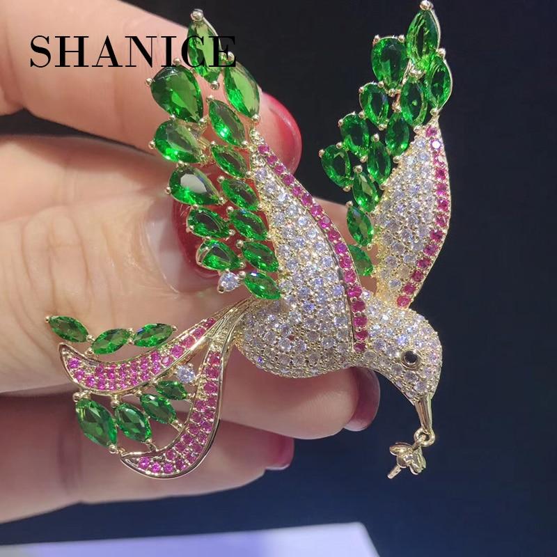 купить SHANICE Luxurious Green Bird Full Crystal Cubic Zirconia Brooches Trendy Plant pearl brooch Big pins Hyperbole Ethnic gift недорого