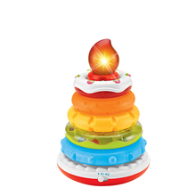 Blocks Toys Rainbow Tower Circle Stacking Ring Tower Cake Shape Rainbow Stack Up Learning Educational Toys For kid Birthday Gift