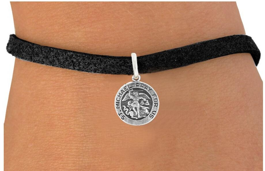 Zinc Alloy St Michael Pray For Us Religious Charm Hand Woven Rope Leather Pendant Bracelets In From Jewelry Accessories On