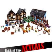 Lepin Castle 16011 New 1601Pcs Medieval Market Village Building Blcoks Bricks Fun Hot Toys For Children