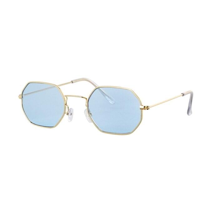 Gafas de sol hexagonales de color amarillo para mujer, anteojos de sol femeninos clásicos de diseñador de marca Retro, de lujo, con espejo 5