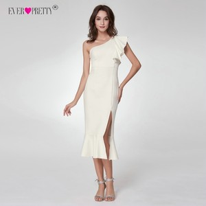 Image 4 - Ever Pretty Fashion White Cocktail Dresses A Line V Neck Backless vestidos coctel mujer 2018 Split Tea Length Casual Party Gown
