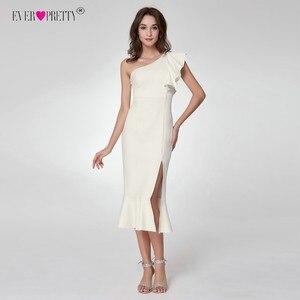 Image 4 - Ever Pretty vestidos de coctel blancos A la moda, con cuello en V, Espalda descubierta, vestidos de coctel para mujer 2018, vestido de fiesta informal de longitud del té dividido