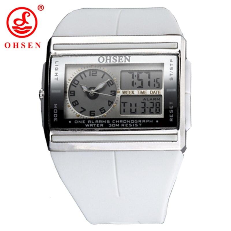 OHSEN LCD Dual Core Analog Digital Men s Sport Watches Alarm Date Week Chronograph Back Light