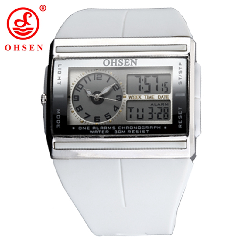OHSEN LCD Dual Core Analog Digital Sports Watch Men Alarm Date Week Stopwatch Back Light Watch Rubber Band Military Wrist watch ohsen ad1309 dual time sports men digital watch with date week alarm stopwatch backlight separate second dial