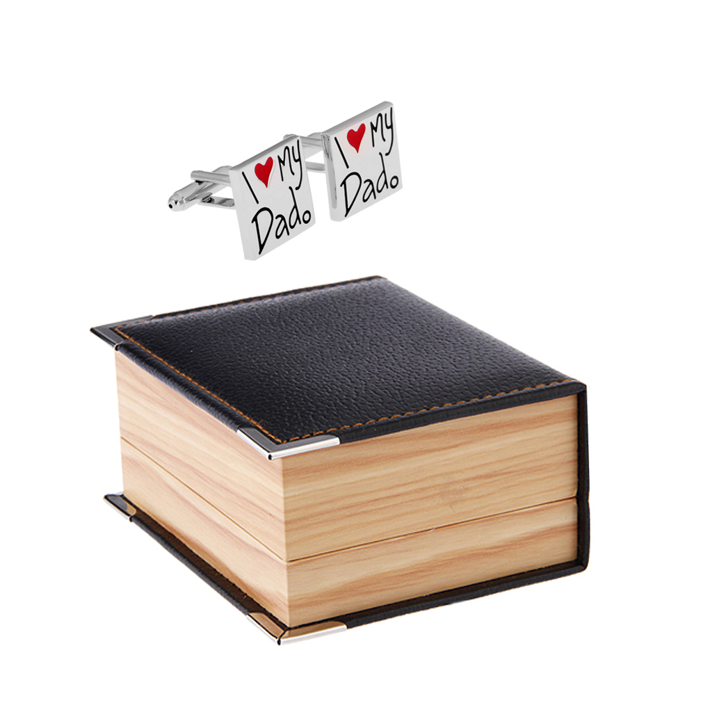 I Love My Dad Cufflinks Heart Cufflinks with PU Leather Gift Box Wedding Fathers Day Perfect Mens Decorations